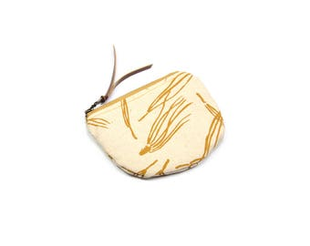 coin purse • small canvas zipper bag • mustard yellow pine needle print - pine trees - screenprinted canvas - zipper pouch • coin pouch