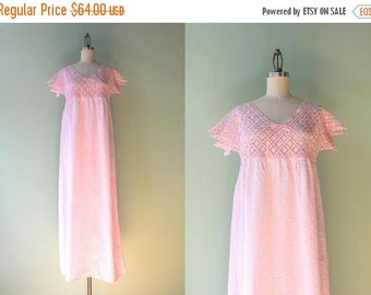STOREWIDE SALE 1920s Nightgown / Antique Pale Pink Crochet Nightie / 1910s 1920s Vintage Cotton and Crochet Negligee S/M/L