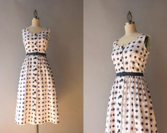 1940s Sundress / Vintage 40s Polka Dots and Flowers White Cotton Sundress / 1940s Scalloped Sleeveless Dress