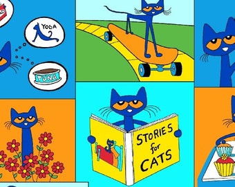 Pete the Cat Squares Blue Marcus Brothers fabric