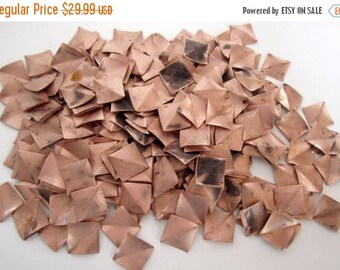 ON SALE- 120 pcs. vintage copper striped and creased square stampings 20mm