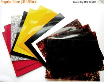 ON SALE- 13 celluloid sheets vintage stock for die cutting guitar picks and more tortoise shell, abalone and colors