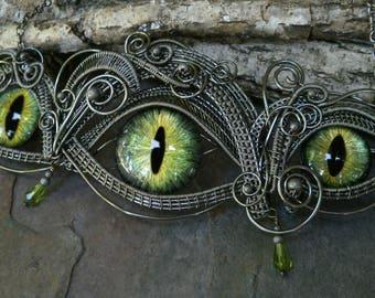 SOLD Gothic Steampunk Dark Silver Triple Green Eye Statement Necklace