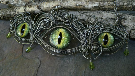 SOLD Gothic Steampunk Dark Silver Triple Green Eye Statement Necklace