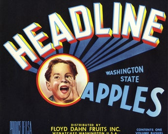 Lot of 7 Headline Washington State Apple Crate Label
