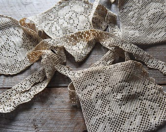 Antique Crocheted Lace Textile, Crochet Lace, Vintage Crocheted Lace, Lace Trim, Vintage Textile, Sewing Supplies, Wall Decoration