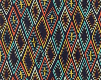 Midnight Garden Fabric // Black with Multicolor Diamonds Quilting Fabric  // 1canoe2 // cotton quilting