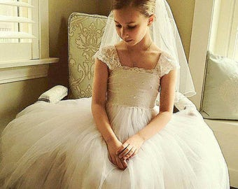 Style 22 - Special Price Silk Like Tulle Veil for The First Communion Traditional Veil , First Communion Veil for Girl