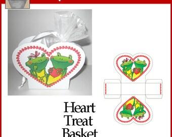 Frog Love Heart Basket White
