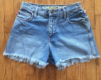 Vintage 90s Mudd Light Blue High Waist Denim Cut Off Shorts - 28 inch waist