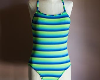 Vintage 90s Green Blue Striped Ribbed One Piece Swimsuit - Size Small