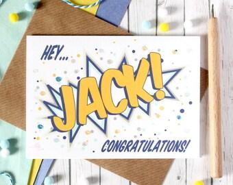 Personalised Congratulations Card. Congratulations Card. Congratulations. Personalised Card. Pop Art Card. Comic Book Card. Congrats Card.
