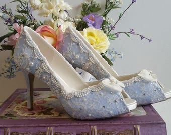 Something Blue Bridal Shoes .. Blue lacy wedding shoes .. comfortable high heels.. Vintage Lace Bridal shoes ..