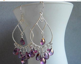 QUICKIE SALE 15% OFF, Boho Gemstone Earrings, Sterling Silver Mystic Violet Pink Purple Quartz Chandeliers, Gemstone earrings, style : Wande