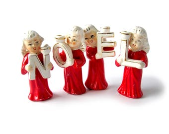 Vintage Christmas NOEL Red Angel Figurine Candle Holder Set / In Box / Christmas Collectibles / Vintage Christmas / Christmas Angels / Japan