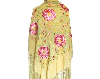 Beautiful Vintage Embroidered Piano Shawl w/Long Knot Fringe /  Floral Motif in Pinks and Greens on Yellow / Bride Shawl / Pink Flowers