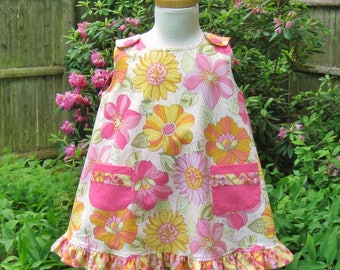 Toddler girl, Top & shorts set, Pink yellow green, Flowered top, Pink shorts, Ready to ship, Play clothes, Handmade, Summer outfit, OOAK
