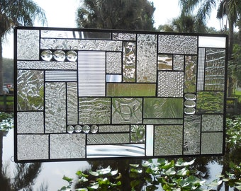 Stained Glass Panel, Stained Glass Transom Window, Glass Window Valance, OOAK Patchwork Stained Glass Window Treatment, Handmade Glass Quilt
