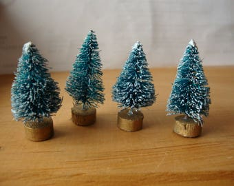 """Bottle brush trees 1"""" 1/2 green christmas craft supplies farmhouse christmas vintage style supplies mini trees holiday crafting millinery"""