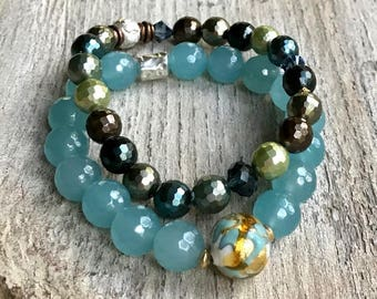 Aqua Blue Jade Gold Murano Glass Focal Beaded Bracelet, Minimalist, Sterling Silver for her Under 80, Free US Shipping