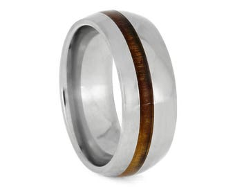 Polished Titanium Ring With Koa Wood, Tropical Wood Jewelry, Simple Wedding Ring For Men or Women