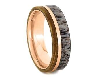 Whiskey Barrel Oak Ring With Deer Antler With 14k Rose Gold, Wooden Wedding Band