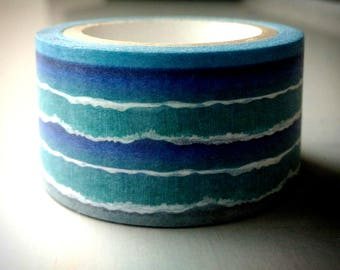 Taiwan's Eastern Coast Landscape : Taiwanese Washi Masking Tape One Roll (25 mm) = O-cean