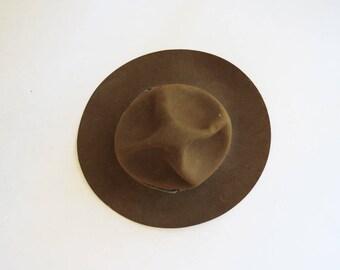 Vintage Boy Scout Hat // Boys Brown Wilderness Adventure Hat // Child's Vintage Accessory