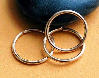 Multiple Piercing Yellow Gold Set of 3 Endless Hoop Earrings * Cartilage Tragus Daith Helix * Sleeper Hoop Earrings * Choose Your Size