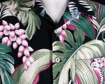 Hawaiian tropical print cotton barkcloth shirt Alan Stuart Size L large chest 46in. Made in USA