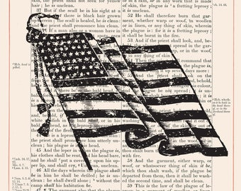 Vintage American Flag on 1883 Bible Paper