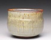 handmade matcha chawan, pottery tea bowl, ceramic matcha bowl with beige yellow and light blue ash glazes