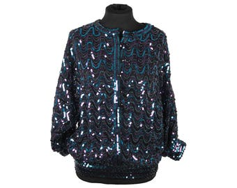 FINK MODELL Vintage Turquoise & Purple SEQUINNED Blouse Top Jacket