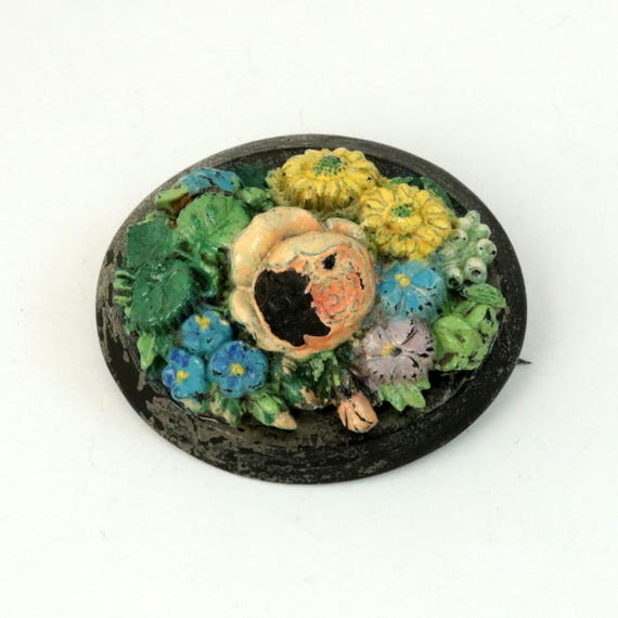 Antique Victorian Hand Painted Vulcanite High Relief Floral Cameo Brooch