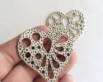 1 pc Matte  Silver Plated Base Heart  Pendant - Heart 50x50mm-(400-044SP)