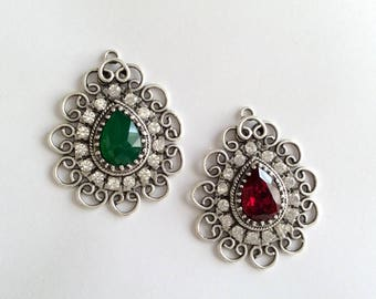 1pc- Matte Silver Plated Green and Red Stone Pendant-50x42mm