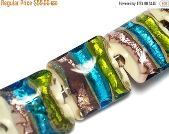 ON SALE 35% OFF Seven Ivory w/Multi-Color Strips Pillow Beads-10302804-Handmade Glass Lampwork Bead