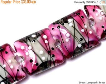 ON SALE 35% OFF Glass Lampwork Bead Set - Four Diva Party Pillow Beads 10109714