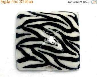 ON SALE 30% off Zebra Stripes Pillow Focal Bead - Handmade Glass Lampwork Bead 11830804