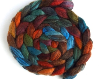 Mixed BFL Wool Roving, Hand Painted Spinning or Felting Fiber, 4 ounces, Flannel Shirt