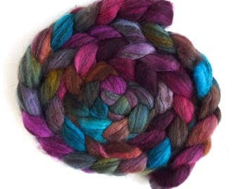 Mixed BFL Wool Roving, Hand Painted Spinning or Felting Fiber, 4 ounces, Voices in My Mind