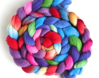 Color Tag, Superwash Merino/ Nylon Roving (Top) - Handpainted Spinning or Felting Fiber