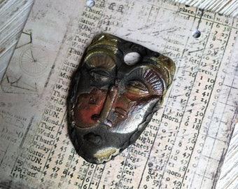41. Wondrousstrange Design Tribal Mask Black Ebony Rust Copper  Porcelain Pendant