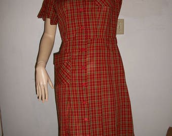 CUTE vintage 60s red plaid day dress BTS S M 34 36 bust