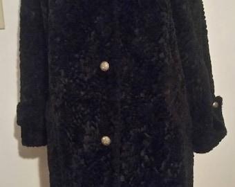 Stunning vintage 60s 70s Black faux Persian Lamb coat plus size XXL