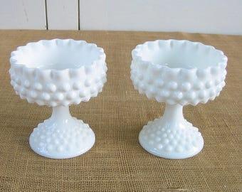PAIR Vintage Milk Glass Compote, Milk Glass Vases, Milk Glass Candy Dish, Milk Glass Hobnail,  White Wedding Decor, Vintage Hobnail