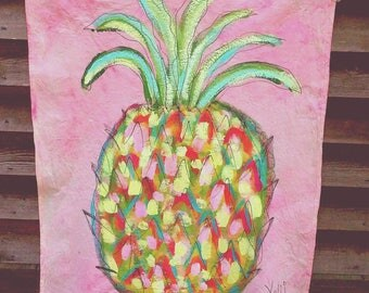 Rustic Flag Banner Hand Painted Yard Porch Condo Pineapple Summer Large Ready to Ship YelliKelli