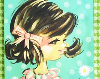 Sweet Retro Style Child Portrait From Photo Made to Order YelliKelli