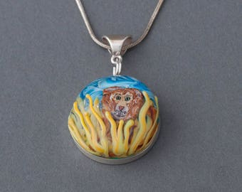 Artisan Sterling Silver Lion Lampwork Glass Focal Pendant
