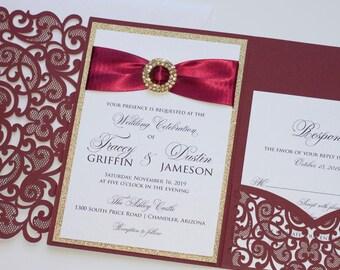 Elegant Glitter Wedding Invitation | Laser Cut Invitation | Lace Wedding Invitation | Burgundy & Gold Glitter | Fall Wedding | TRACEY Sample